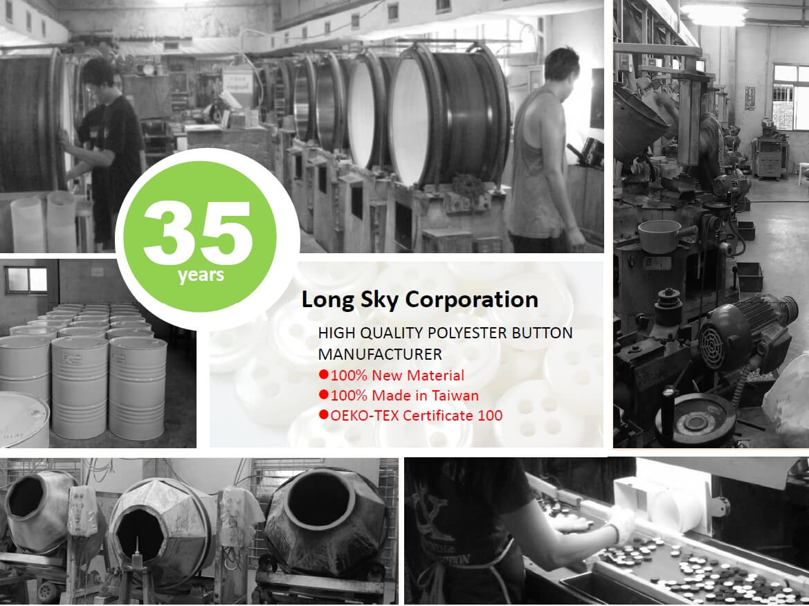 Long sky-polyester resin button production line-35years